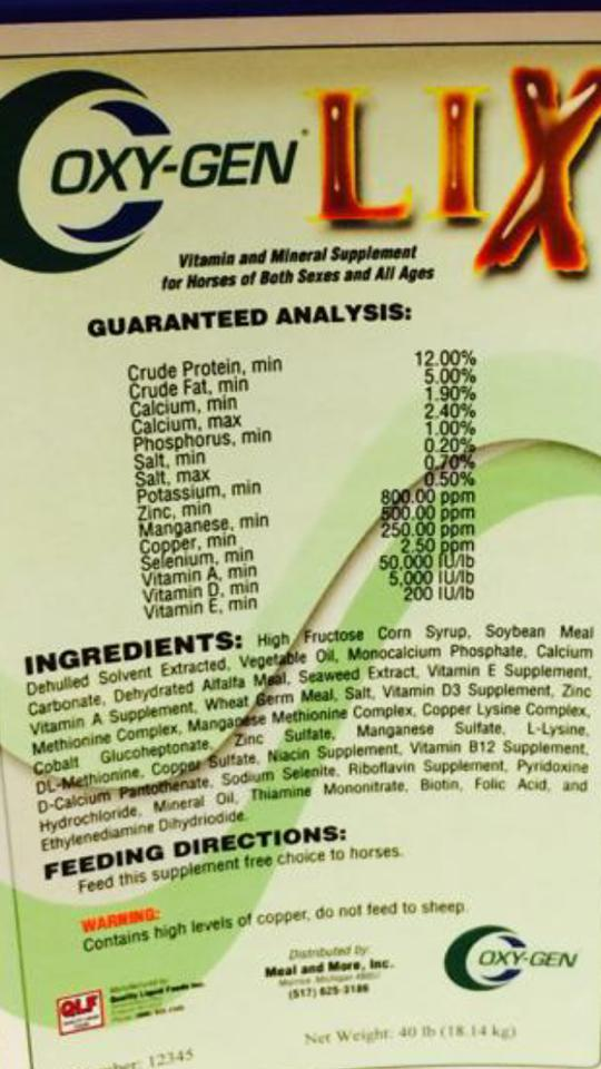 Oxy Lix Tub for Horses Label and Ingredients